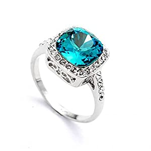 Square Blue Topaz Made With Swarovski ElementS Crystal 18k White Gold Platd Ring Surrounded With Rhine Stones - SIZE O