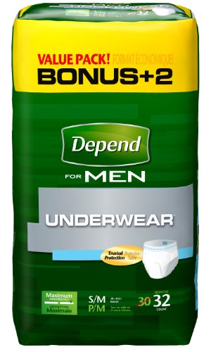 Depend Underwear for Men, Maximum Absorbency, Small Medium, 32-Count