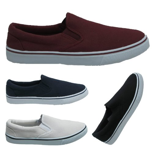 Mens Canvas Slip On Deck Boat Espadrilles Loafers Flat Pumps Gusset Yachting Plimsoles Shoes trainers Sizes UK 7 8 9 10 11 12