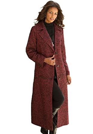 Roamans Women's Plus Size Long Wool Tweed Coat (Red Tweed,16 W)