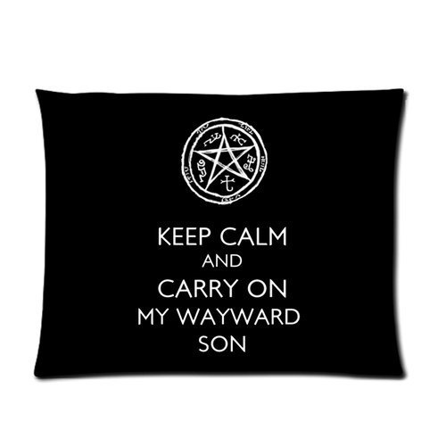 Butuku Supernatural Tv Series Logo Keep Clam And Carry On My Wayward Son Personalized Picture Pillow Case 26X20 (One Side) front-703741