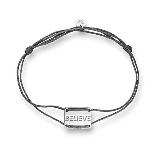 Glanzstcke-Mnchen-Damen-Textilarmband-grau-Believe-Sterling-Silber-14-20-cm-Armbndchen-dnn-mit-Gravur-Textilarmband-Silberarmband