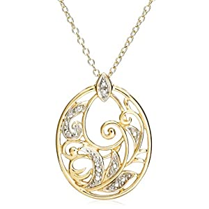 18k Yellow Gold Plated Sterling Silver Diamond Accent Pendant, 18""