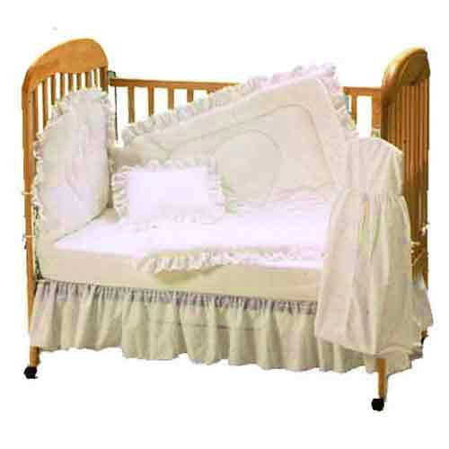 Baby Doll Bedding Carnation Eyelet Crib Bedding Set, Ecru front-999646