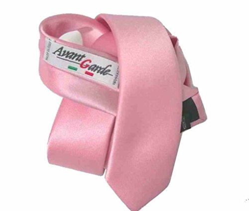 Avantgarde - Cravatta Slim Tinta Unita Made in Italy Colori Cravattino Skinny Tie Top Quality, Colore: Rosa, 4 CM in punta