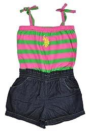 US Polo Assn Little Girls Striped Pink & Green W/Denim Blue Romper (4)