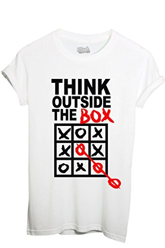 T-SHIRT PENSA FUORI DAL BOX-DIVERTENTE by MUSH Dress Your Style - Uomo-XL-BIANCA
