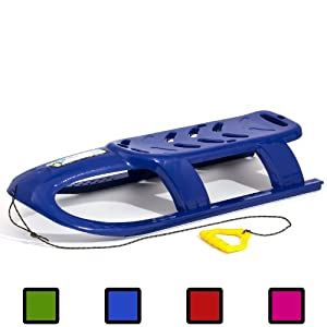 Blue long 2 person BULLET kid sledge with metal runners and rope, 4 colours