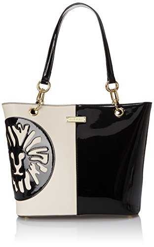 Anne Klein Double Trouble Tote Shoulder Bag, Black/Vanilla, One Size