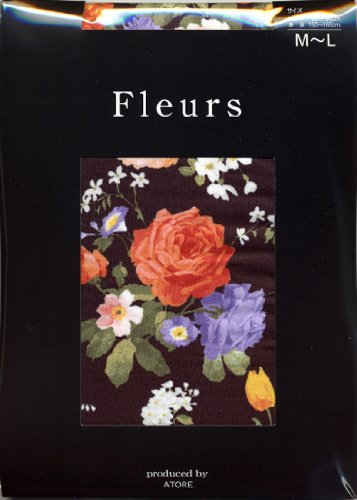 (フルール) fleurs 80D花柄プリントタイツビーナス ブラック