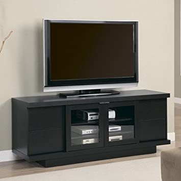 Monarch Specialties Length TV Console on a Pedestal Base, 60-Inch, Cappuccino