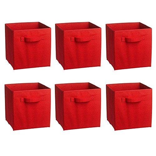 Rusee Foldable Cloth Storage Cube Basket Bins Organizer Containers Drawers, 6 Pack (Canvas Storage Drawers compare prices)