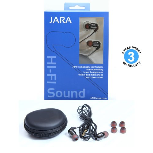 Jara's Jumper Premium In-Ear Enhanced Bass Hi-Fi Noise Isolating Earbuds with In-Line-Microphone, Style Headphones
