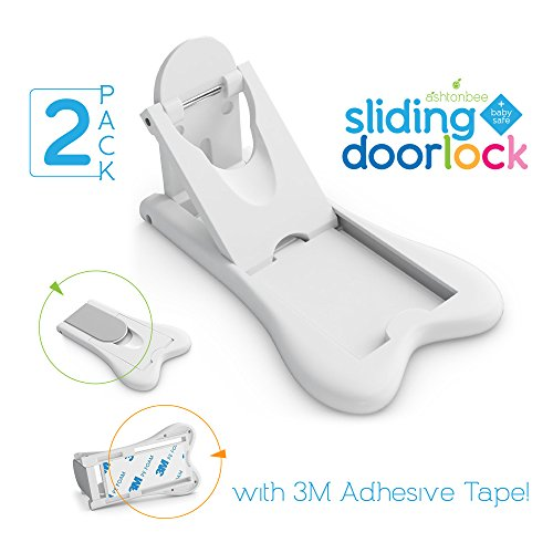Sliding Door Lock for Child Safety - Baby Proof Doors & Closets. Childproof your Home with No Screws or Drills by Ashtonbee (Set of 2, White) (Door Closet Sliding compare prices)