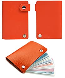 10 Slot Credit Card Wallet Style Holder with Snaps (Orange)