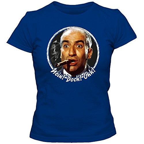 Louis de Funès 01 Maglietta | Donna | Gendarm de Saint Tropez | Fantomas | Fanshirt | Womenshirt | T-Shirt, Farbe:Blau (Royalblue L191);Taglia:X-Large