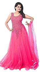 Be With Me Women's Net Gown Dress Material (Baby pink net gown _Baby Pink_)