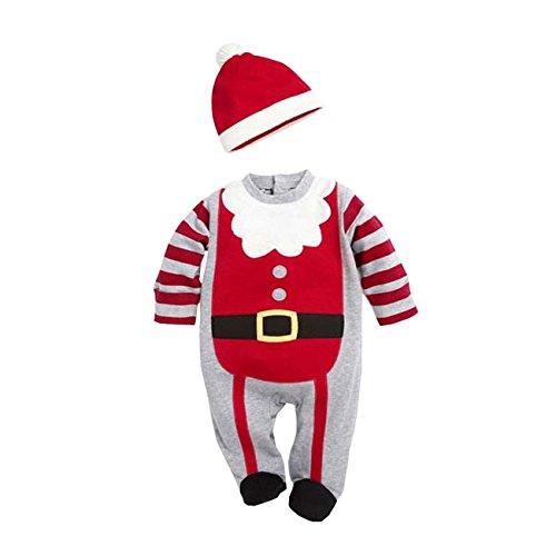 AHATECH Infant Neonata Ragazze Dei Ragazzi Bambini Bambino Caldi Santa Babbo Natale Manica Lunga Pagliaccetto Costume Vestito Cappello - Abito Di Natale