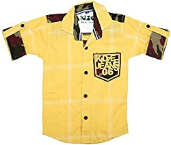 CAY 100% Cotton Yellow Color Designer Checks shirt (Size:S)