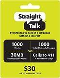 41dFgvYlPML. SL160  Straight Talk $30 Phone Card   1000 Minutes, 1000 Texts & 30MB Web Access