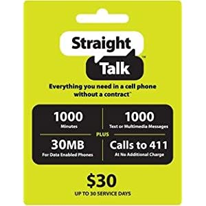 Straight Talk $30 Phone Card - 1000 Minutes, 1000 Texts & 30MB Web