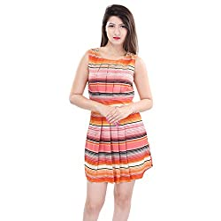 Oviya Mn-Orange Stripe Print Poly Crepe Dress