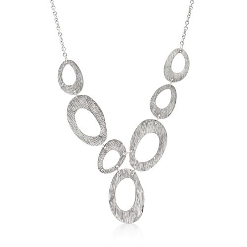 Large Textured Organic Necklace in Silver Tone