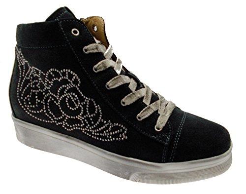 art C3650 lacci training camoscio antracite cerniera sneaker scarpa donna 38 grigio