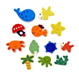 Wooden Play Set Fridge Magnets, Whale, Crab, Fish, Octopus Sea Lifeby Babyandhomestores