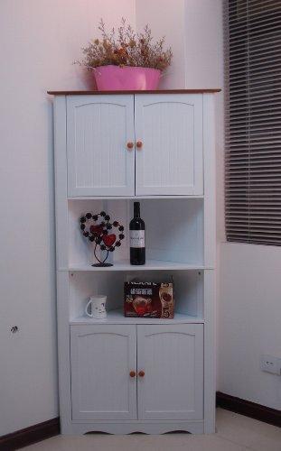 Homecharm-intl HC-003A Wooden Corner Cabinet White