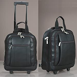 Hideonline Black Italian Leather Trolley Bag Wheeled Backpack