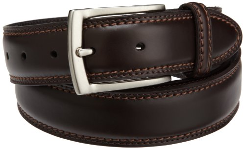Dockers Mens 35mm Feather Edge Belt With Two-row Stitch, Brown, 52