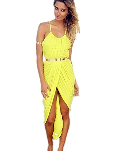DAYAN Sexy Donne fasciatura della gonna Holder Robe Sans Manches Plage Night Club Cocktail Party Colore giallo Taglia S