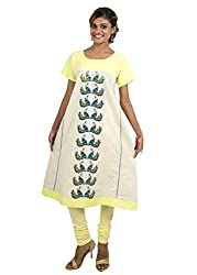Kandida Madhubani Handsketched Peacock Cotton Kurta