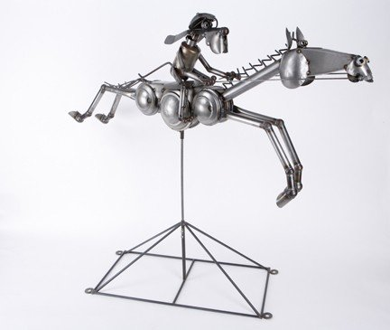 Dog Biscuit Horse Racing Sculpture