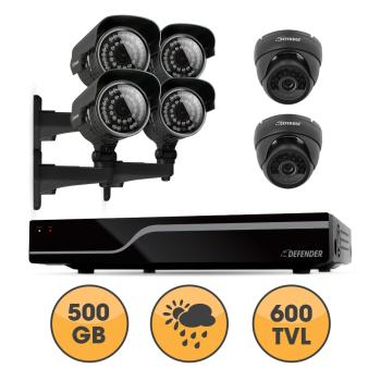 Defender sentinel 8ch 500gb security dvr including 4 pro 2 for Look security systems