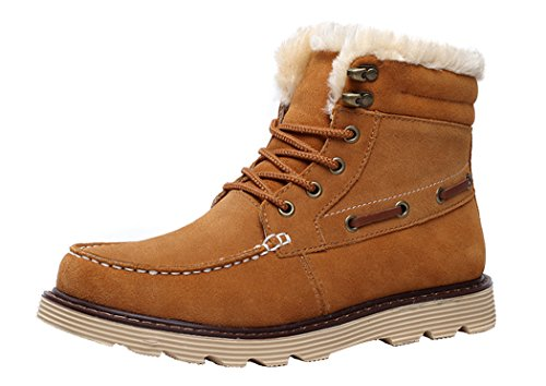 Milanao Men Winter Warm Cotton Frosted Short Tube Snow Boots(7 D(M)Us,Chestnut)
