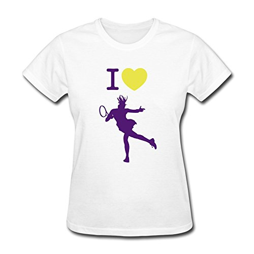 Tennis Logo 100% Cotton White Tee Shirts For Woman Size L