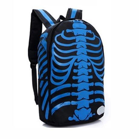 Tinksky® Casual Canvas Skeletons Backpack Bag For School (Black/Blue) front-1077793