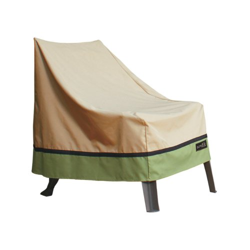 Sure Fit High Back Xl Patio Chair Cover, Taupe front-632429