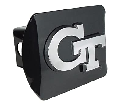 "Georgia Tech Yellow Jackets Black Metal Trailer Hitch Cover Chrome Metal with NCAA Logo Fits 2"" Receivers"