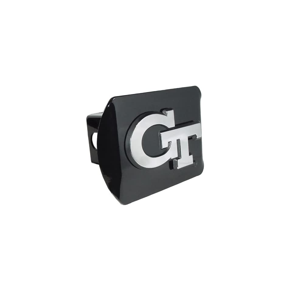 Georgia Tech Yellow Jackets Black Metal Trailer Hitch Cover Chrome Metal with NCAA Logo Fits 2 Receivers