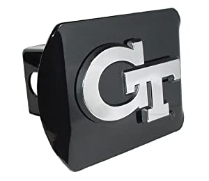 Buy Georgia Tech Yellow Jackets Black Metal Trailer Hitch Cover Chrome Metal with NCAA Logo Fits 2 Receivers by Elektroplate
