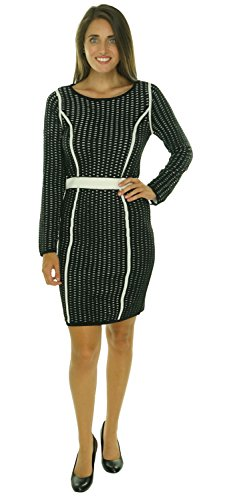 Calvin Klein Women's Small Mesh-Striped Sweater Dress Black S
