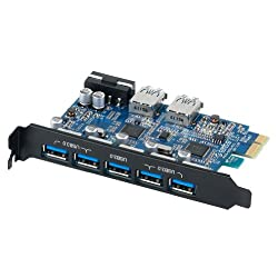 ORICO PVU3-5O2U 7 Port USB 3.0 PCI - Express Card USB 3.0 HUB , 5Port Outside & 2-Port Inside For Front Panel , 4 Pin Power Supply , Black PCI Edition