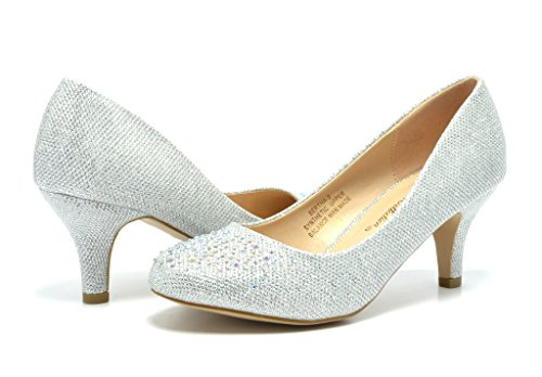 DREAM PAIRS BERTHA-3 Women's Bridal Wedding Party Glitter Rhinestone Low Heel Pump Shoes SILVER-GLITTER SIZE 7