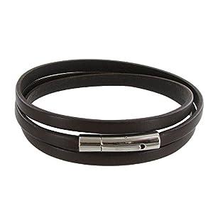 Bijoux Les Poulettes - Bracelet Homme Cuir Marron Foncé Plat Fermoir Acier Inoxydable