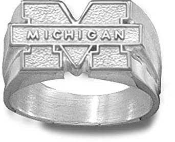 Michigan Wolverines M Michigan Mens Ring Size 10 1 2 - Sterling Silver Jewelry by Logo Art