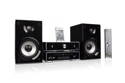 Nexttec DVD-Kompaktanlage Soundsystem Hifi-Anlage mit iPod Dockingstation - kompatibel für alle iPhones und iPods mit 30-Pin Dock-Connector - inkl. 2-Wege-Bassreflex-Lautsprecher und 1 Fernbedienung