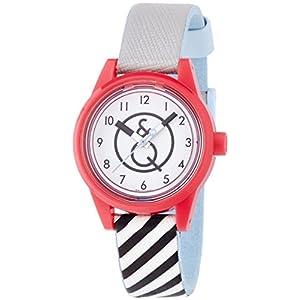 [キューアンドキュー スマイルソーラー]Q&Q SmileSolar 腕時計 ホワイト×ストライプ RP01-002 レディース